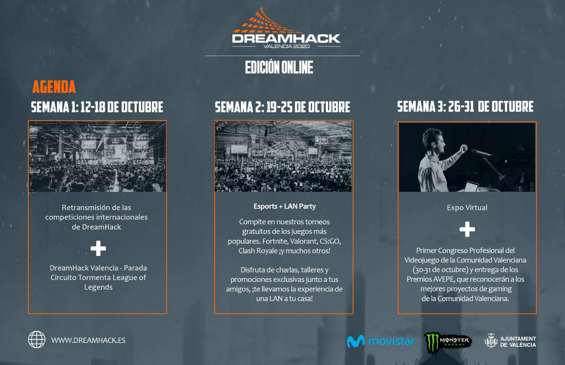 DreamHack Valencia Online 2020 información por semanas